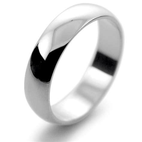platinum wedding ring d shape light weight 5mm pld5
