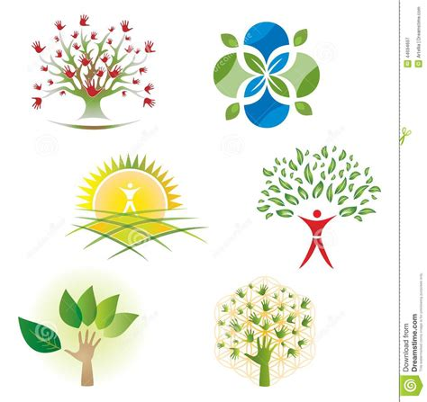 typography nature set of tree nature foliage icons for logo design stock vector illustration of collection
