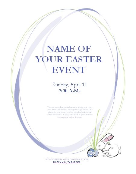 easter card template microsoft word flyer for easter event with bunny