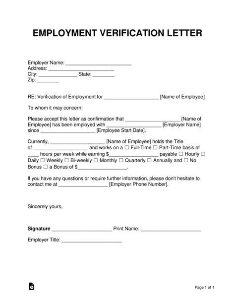 employee verification form experience snapshot employment 9 word