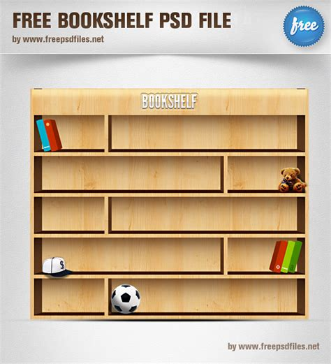 free wooden bookshelf psd realistic objects