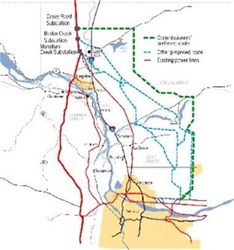 transmission lines map citizens groups propose new route for bpa transmission line