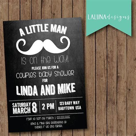 Diy Baby Shower Invite by Couples Baby Shower Invitation Mustache Chalkboard Baby