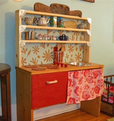 homemade play kitchen ideas dishfunctional designs old furniture upcycled into