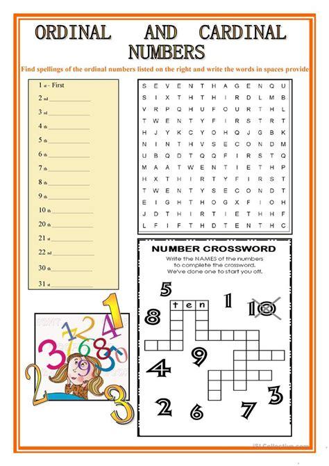printable english worksheets numbers ordinal and cardinal numbers worksheet free esl