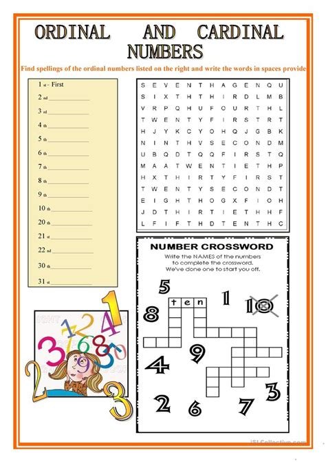 free printable english worksheets numbers ordinal and cardinal numbers worksheet free esl