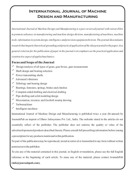 design for manufacturing journal international journal of machine design and manufacturing
