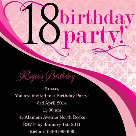 invitation card template for 18th birthday 33 best 18th birthday invitations inspirations images on