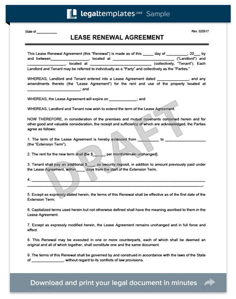 lease renewal agreement template create a free lease renewal print