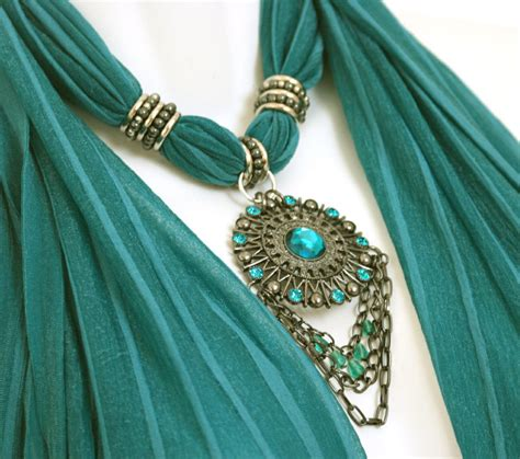 how to make scarf jewelry scarf jewelry teal scarves with pendants necklace scarfs