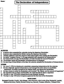 Declaration Of Independence Student Worksheet Answers by The Declaration Of Independence Worksheet Crossword