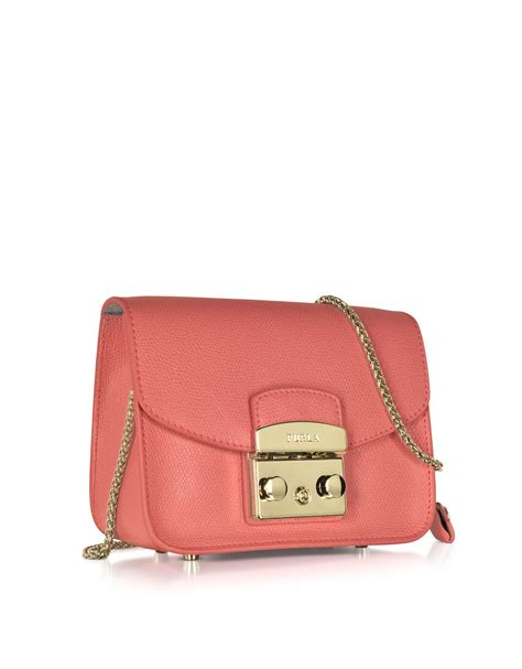 furla metropolis coral leather shoulder bag in pink lyst