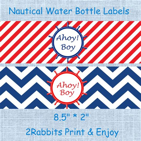 printable nautical labels nautical themed water bottle labels by 2rabbitsprintenjoy