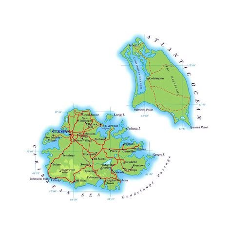printable road map of antigua detailed road map of antigua and barbuda antigua and