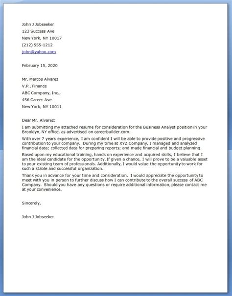Email Cover Letter For Business Analyst Business Analyst Cover Letter
