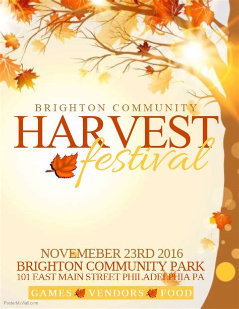 38 Best Autumn Fall Posters Images On Pinterest Online Poster Maker Poster Prints And Online Harvest Festival Flyer Free Template