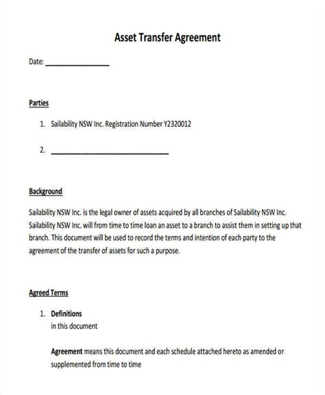 Asset Agreement Templates 5 Free Word Pdf Format Download Free Premium Templates Asset Agreement Template