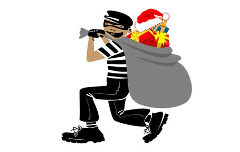 thief with christmas present vector free download