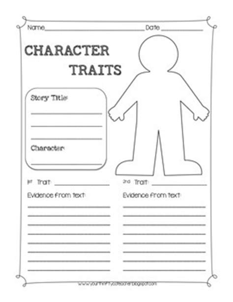 Character Traits Worksheet Pdf by Character Traits Graphic Organizer Worksheet By Your
