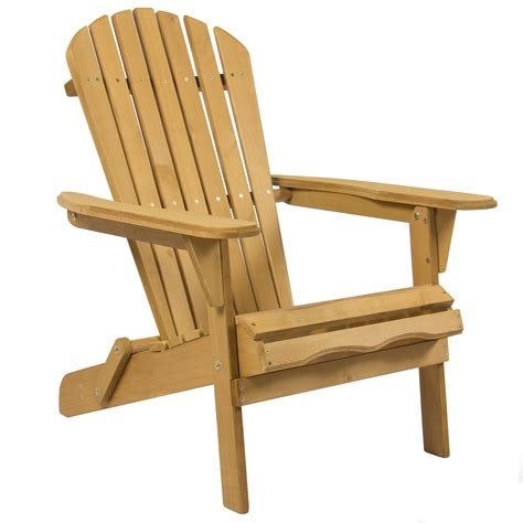 Outdoor Adirondack Wood Chair Foldable Patio Lawn Deck Wood Patio Chairs