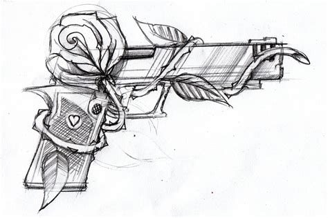 Gun And Rose By Stevegolliotvillers On Deviantart Cool Drawings Of Shooting 2