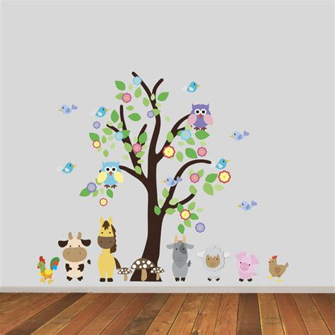 wall stickers tree with farmyard animals wall sticker by mirrorin notonthehighstreet