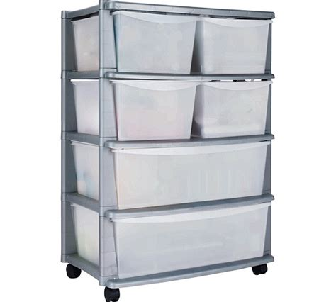 Plastic Storage Drawer by Buy Home 6 Drawer Plastic Wide Storage Tower Unit Silver