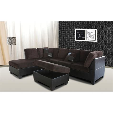 chocolate corduroy sectional sofa ottomans living room furniture furniture the home depot