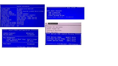 reset bios hp compaq elite 8300 elite 8300 sff uefi only mode no network interface as