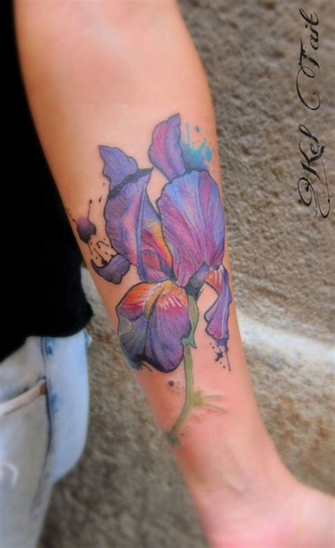 watercolor iris best tattoo design ideas