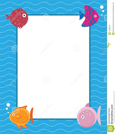 7 Paris Themed Teen frame with cartoon fishes royalty free stock photos