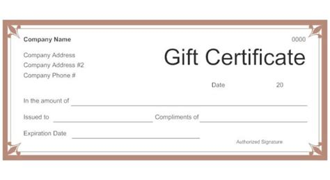template for gift certificate the size of gift cards standard gift voucher certificate sle with brown border