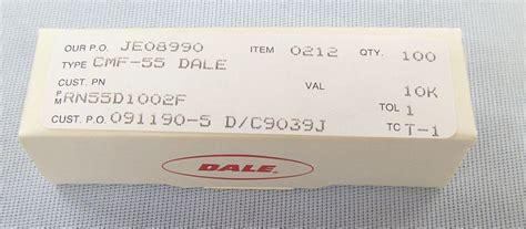 dale resistor number code dale 10k ohm 1 8 watt resistor box of 100 rn55d1002f