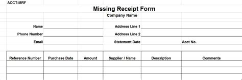 missing receipt form template images