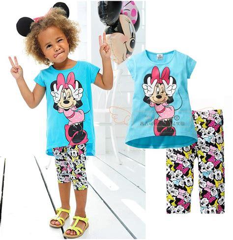 Set Minnie Denim Kid 2017 new summer baby clothes set minnie toddler clothing set fashion t shirt