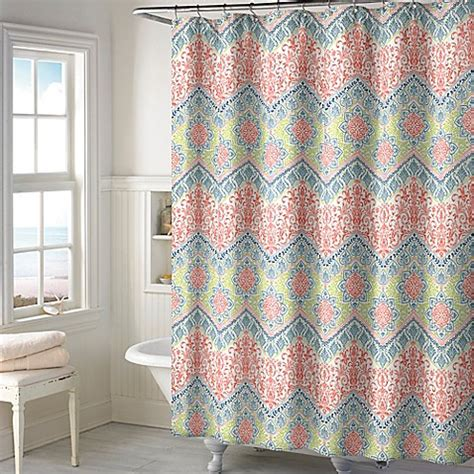 coral and teal shower curtain new sage chevron shower curtain in coral bed bath beyond