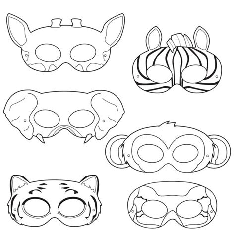 printable monkey mask template jungle animals coloring masks monkey mask elephant mask