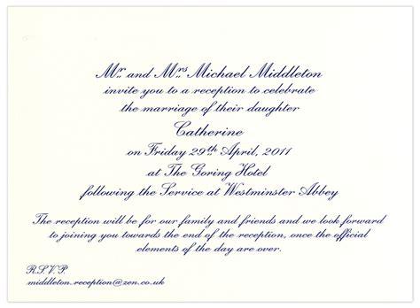 Exles Of Wedding Reception Invitations