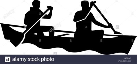 canoes vector two man in a canoe canoeing stock vector art