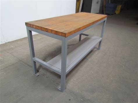 tall benches welded steel industrial work bench w 1 3 4 quot butcher block
