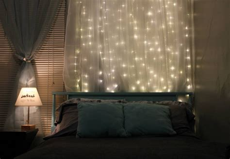 curtain lights for bedroom 15 diy curtain headboard with christmas lights home