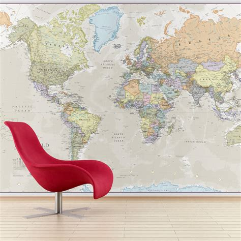 world map wall murals classic world map mural by maps international notonthehighstreet