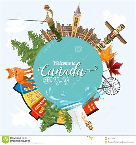 traveling to canada with a travel to canada light design circle shape canadian vector illustration retro