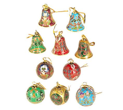 cloisonne set of 10 christmas ornaments qvc com