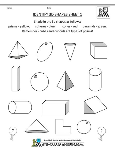 Three Dimensional Shapes Worksheets For Grade by 1000 Images About 2nd Grade Geometry On 3d
