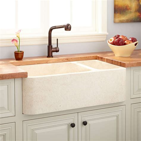 cream kitchen sink 33 quot polished marble 70 30 offset double bowl farmhouse