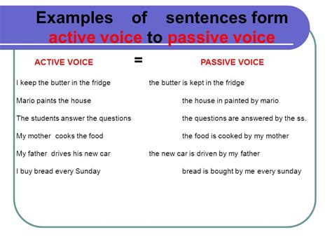 passive voice the passive voice is less usual than the