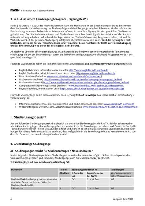 Bewerbung Rwth Rwth Info Zur Studienaufnahme Im Wintersemester 2008 09