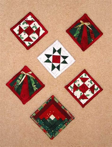 Patchwork Ornaments - folded fabric ornaments i made from memories