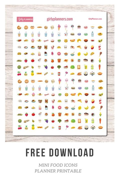 printable stickers bullet journal free printable planner stickers mini food icons i use